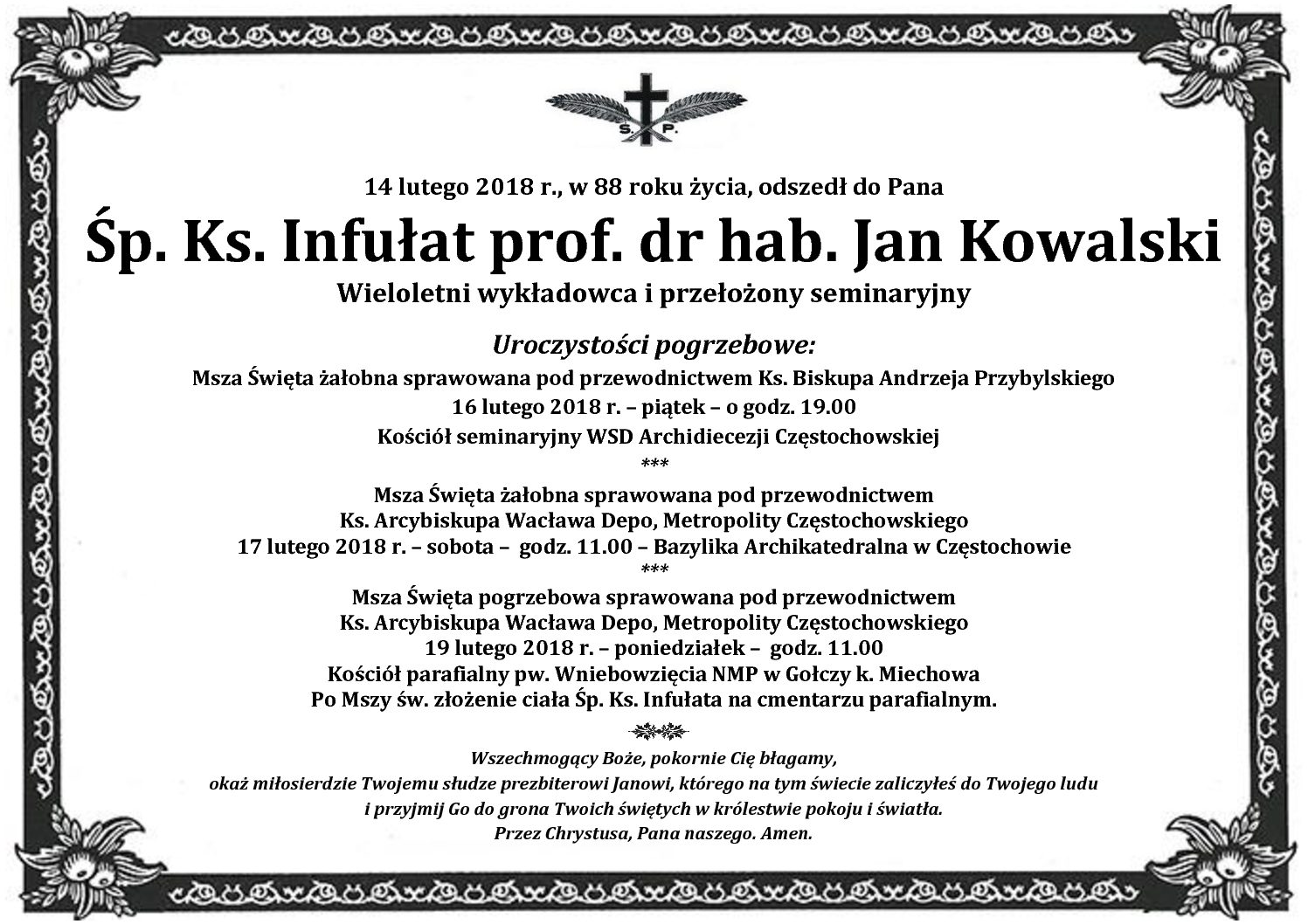 Śp. ks. prof. Jan Kowalski